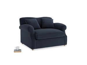 Crumpet Love Seat Sofa Bed in Indigo vintage linen