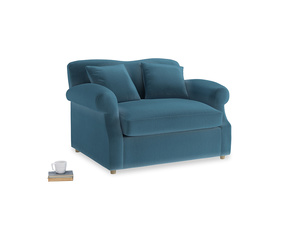 Crumpet Love Seat Sofa Bed in Old blue Clever Deep Velvet