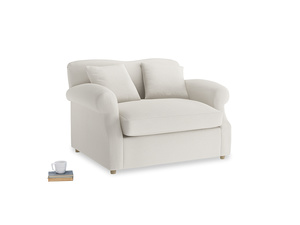 Crumpet Love Seat Sofa Bed in Oyster white clever linen