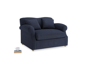 Crumpet Love Seat Sofa Bed in Seriously Blue Clever Softie
