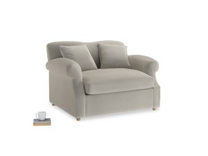 Crumpet Love Seat Sofa Bed in Smoky Grey clever velvet