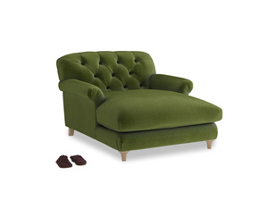 Truffle Love Seat Chaise in Good green Clever Deep Velvet