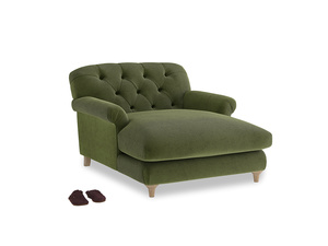 Truffle Love Seat Chaise in Leafy Green Clever Cord