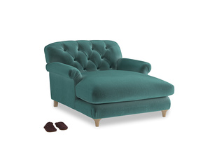 Truffle Love Seat Chaise in Real Teal clever velvet
