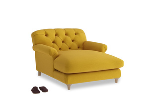 Truffle Love Seat Chaise in Yellow Ochre Vintage Linen