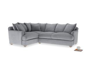 Large left hand Smooch Corner Sofa Bed in Dove grey wool