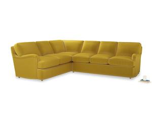 XL Left Hand Jonesy Corner Sofa Bed in Bumblebee clever velvet