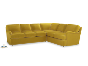 XL Right Hand Jonesy Corner Sofa Bed in Bumblebee clever velvet