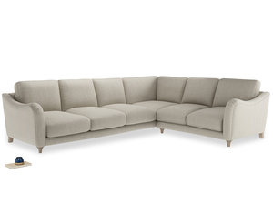 Xl Right Hand Bumpster Corner Sofa in Thatch house fabric