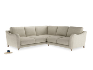 Even Sided Bumpster Corner Sofa in Shell Clever Laundered Linen