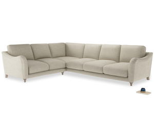 Xl Left Hand Bumpster Corner Sofa in Shell Clever Laundered Linen