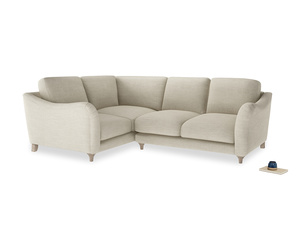 Large Left Hand Bumpster Corner Sofa in Shell Clever Laundered Linen