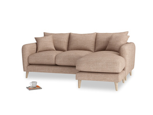 Large right hand Squishmeister Chaise Sofa in Old Plaster Clever Laundered Linen