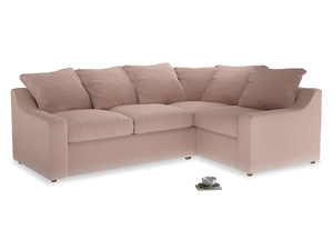 Large Right Hand Cloud Corner Sofa in Dried Plaster Clever Velvet
