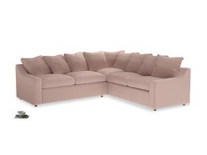 Even Sided Cloud Corner Sofa in Dried Plaster Clever Velvet