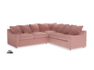 Even Sided Cloud Corner Sofa in Vintage Pink Clever Velvet