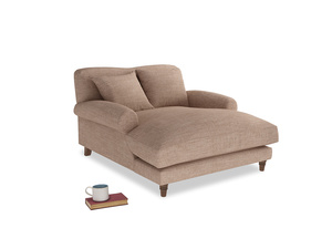 Crumpet Love Seat Chaise in Old Plaster Clever Laundered Linen