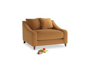Oscar Love seat in Caramel Plush Velvet