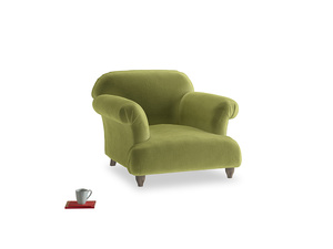Soufflé Armchair in Light Olive Plush Velvet