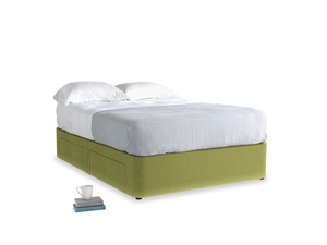 Double Tight Space Storage Bed in Light Olive Plush Velvet
