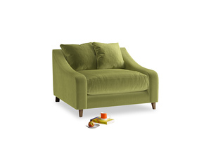 Oscar Love seat in Light Olive Plush Velvet