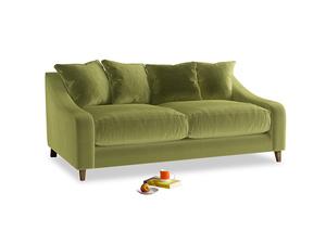 Medium Oscar Sofa in Light Olive Plush Velvet