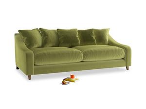 Large Oscar Sofa in Light Olive Plush Velvet