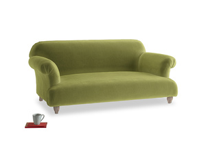 Small Soufflé Sofa in Light Olive Plush Velvet