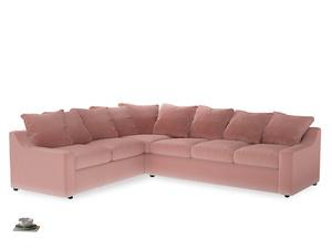 Xl Left Hand Cloud Corner Sofa in Vintage Pink Clever Velvet