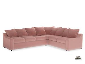 Xl Right Hand Cloud Corner Sofa in Vintage Pink Clever Velvet