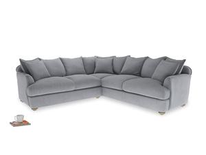 XL Left Hand Smooch Corner Sofa Bed in Dove grey wool