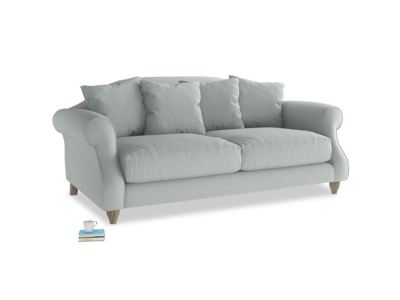 Medium Sloucher Sofa in French blue brushed cotton