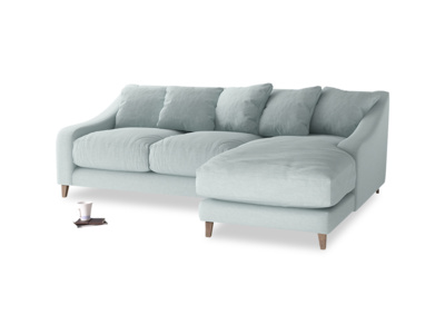 Large right hand Oscar Chaise Sofa in Duck Egg vintage linen