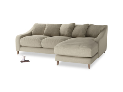 Large right hand Oscar Chaise Sofa in Jute vintage linen