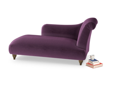 Right Hand Brontë Chaise Longue in Grape clever velvet
