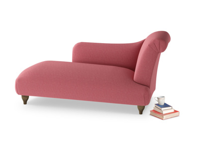 Right Hand Brontë Chaise Longue in Raspberry brushed cotton