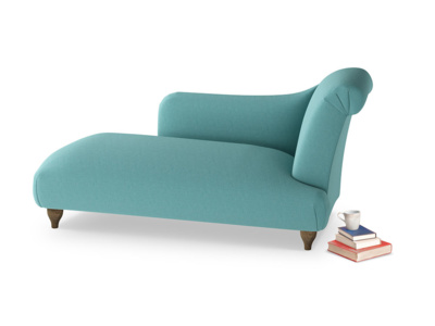 Right Hand Brontë Chaise Longue in Peacock brushed cotton