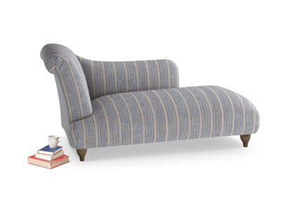 Left Hand Brontë Chaise Longue in Brittany Blue french stripe