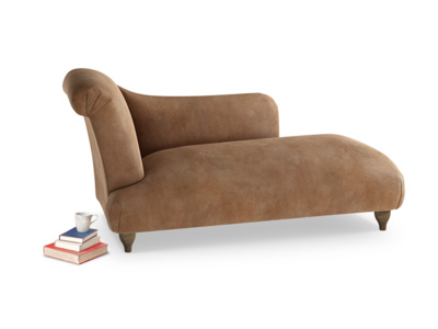 Left Hand Brontë Chaise Longue in Walnut beaten leather