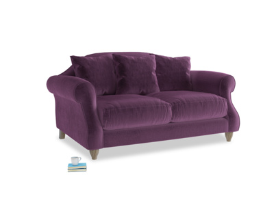 Small Sloucher Sofa in Grape clever velvet