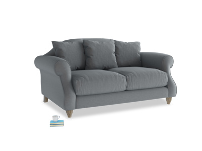 Small Sloucher Sofa in Dusk vintage linen