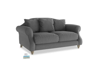 Small Sloucher Sofa in Ash washed cotton linen