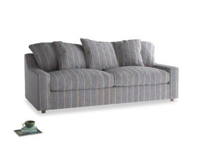 Large Cloud Sofa in Brittany Blue french stripe