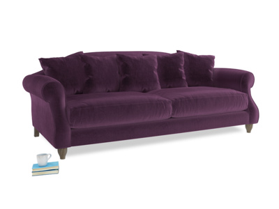 Large Sloucher Sofa in Grape clever velvet