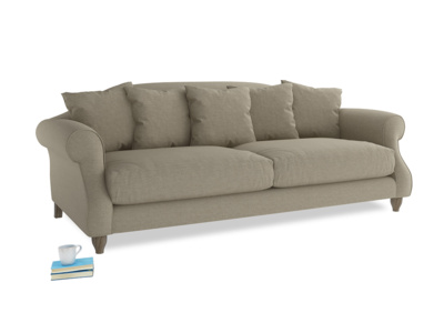 Large Sloucher Sofa in Jute vintage linen