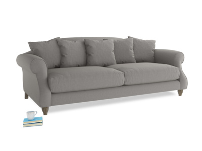 Large Sloucher Sofa in Wolf brushed cotton