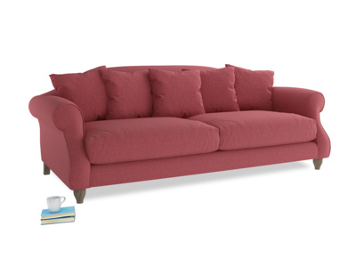 Large Sloucher Sofa in Raspberry brushed cotton