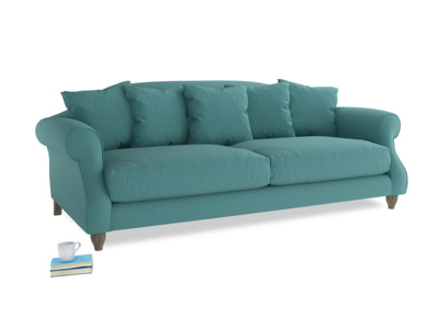Large Sloucher Sofa in Peacock brushed cotton