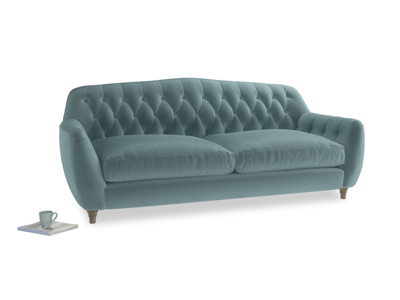 Large Butterbump Sofa in Lagoon clever velvet
