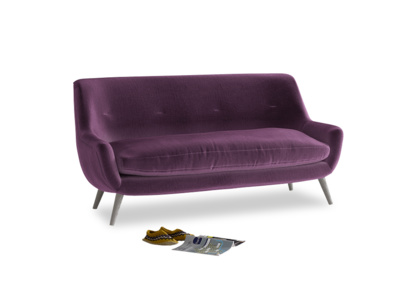 Medium Berlin Sofa in Grape clever velvet